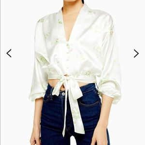 White floral silky blouse